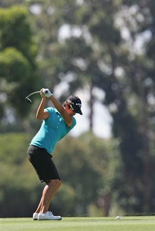 MELBOURNE, AUSTRALIA - MARCH 14:  Yani Tseng of Taiwan plays an approach shot on the 13th hole during the final round of the 2010 Women's Australian Open at The Commonwealth Golf Club on March 14, 2010 in Melbourne, Australia.  (Photo by Scott Barbour/Getty Images)