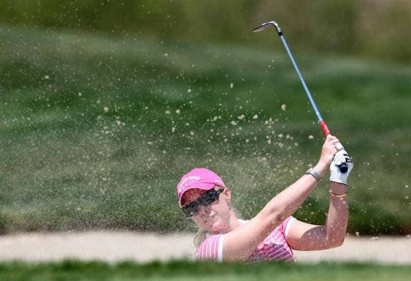 MORELIA, MEXICO- APRIL 26:  Morgan Pressel hits out of the bunker on the 10th hole during the final round of the Corona Championship at the Tres Marias Residential Golf Club on April 26, 2009 in Morelia, Michoacan, Mexico. (Photo by Donald Miralle/Getty Images)