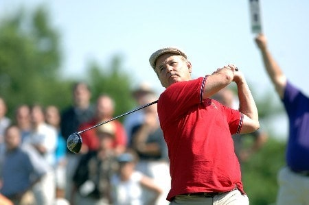 Bill Murray tees off during the Fedex St. Jude Classic Memorial Pro-Am in Memphis, Tennessee on May 25, 2005.Photo by Joe Murphy/WireImage.com