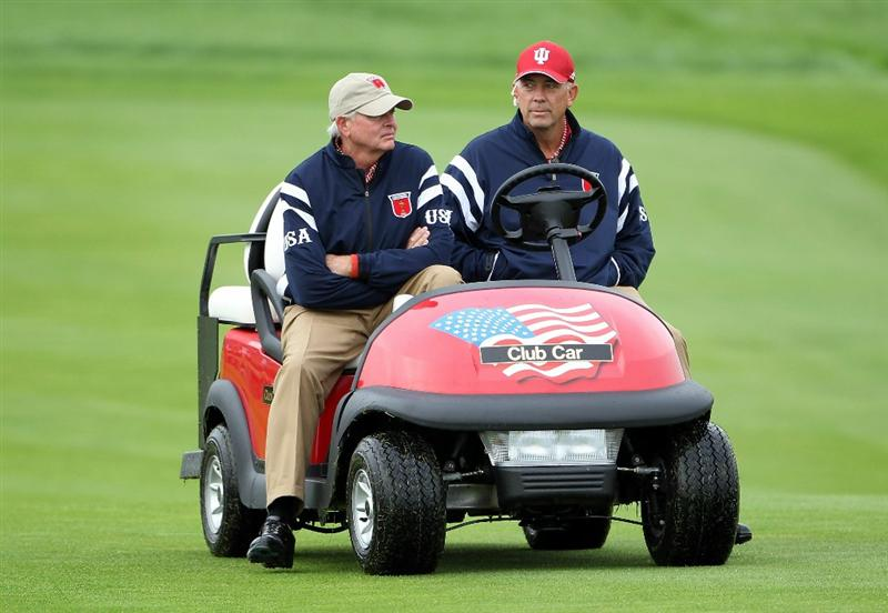 NEWPORT, WALES - SEPTEMBER 30:  USA Vice Captain Tom Lehman drives a buggy during a practice round prior to the 2010 Ryder Cup at the Celtic Manor Resort on September 30, 2010 in Newport, Wales.  (Photo by Jamie Squire/Getty Images)