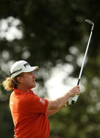 SOTOGRANDE, SPAIN - OCTOBER 30:  Miguel Angel Jimenez of Spain plays into the 10th green during the third round of the Andalucia Valderrama Masters at Club de Golf Valderrama on October 30, 2010 in Sotogrande, Spain.  (Photo by Richard Heathcote/Getty Images)