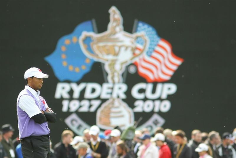 NEWPORT, WALES - OCTOBER 02:  Tiger Woods of the USA looks on during the rescheduled Afternoon Foursome Matches during the 2010 Ryder Cup at the Celtic Manor Resort on October 2, 2010 in Newport, Wales.  (Photo by Jamie Squire/Getty Images)
