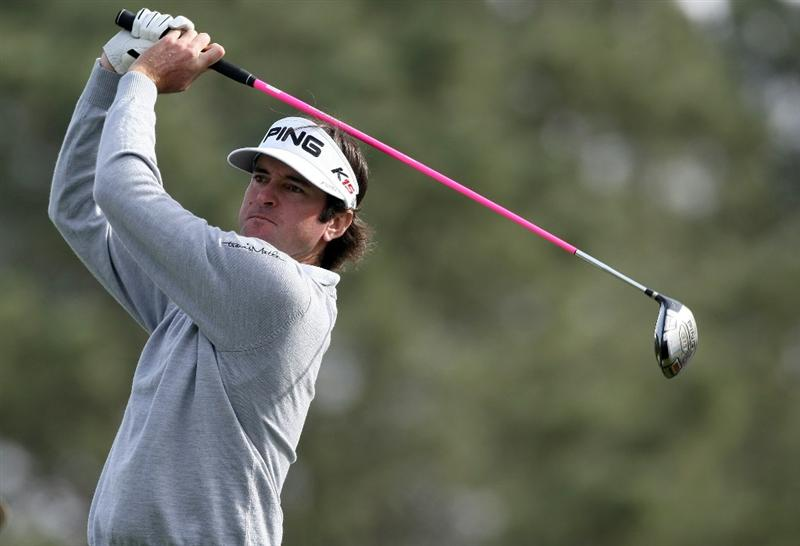 LA JOLLA, CA - JANUARY 30:  Bubba Watson tees off the 17th hole en route to winning the Farmers Insurance Open with -16 under par on the final round on January 30, 2011 in La Jolla, California.  (Photo by Donald Miralle/Getty Images)