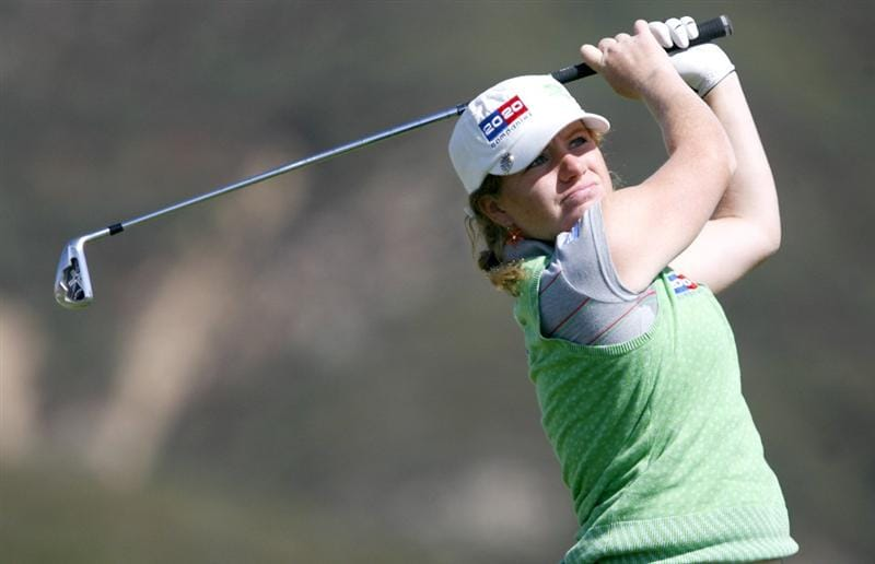 DANVILLE, CA - OCTOBER 10: Mikaela Parmlid of Sweden makes a tee shot on the 16th hole during the second round of the LPGA Longs Drugs Challenge at the Blackhawk Country Club October 10, 2008 in Danville, California. (Photo by Max Morse/Getty Images)