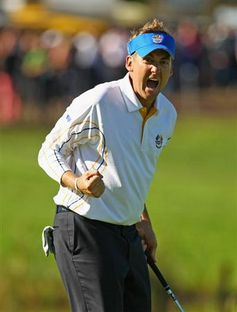 NEWPORT, WALES - OCTOBER 04:  Ian Poulter of Europe celebrates holing a putt on the 13th green in the singles matches during the 2010 Ryder Cup at the Celtic Manor Resort on October 4, 2010 in Newport, Wales.  (Photo by Richard Heathcote/Getty Images)