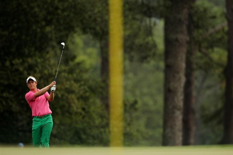 AUGUSTA, GA - APRIL 09:  Luke Donald of England hits an approach shot to the eighth green during the third round of the 2011 Masters Tournament at Augusta National Golf Club on April 9, 2011 in Augusta, Georgia.  (Photo by Andrew Redington/Getty Images)