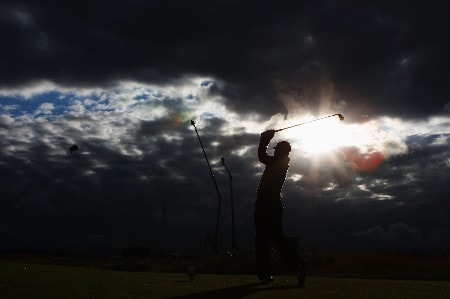 CARNOUSTIE, UNITED KINGDOM - JULY 20:  Paul McGinley of Ireland watches his tee shot on the 17th hole during the second round of The 136th Open Championship at the Carnoustie Golf Club on July 20, 2007 in Carnoustie, Scotland.  (Photo by Andrew Redington/Getty Images)