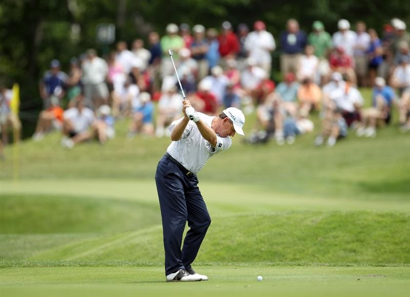 LOUISVILLE, KY - MAY 28:  Nick Price of Zimbabwe hits his second shot on the par 4 4th hole during the third round of the Senior PGA Championship presented by KitchenAid at Valhalla Golf Club on May 28, 2011 in Louisville, Kentucky.  (Photo by Andy Lyons/Getty Images)