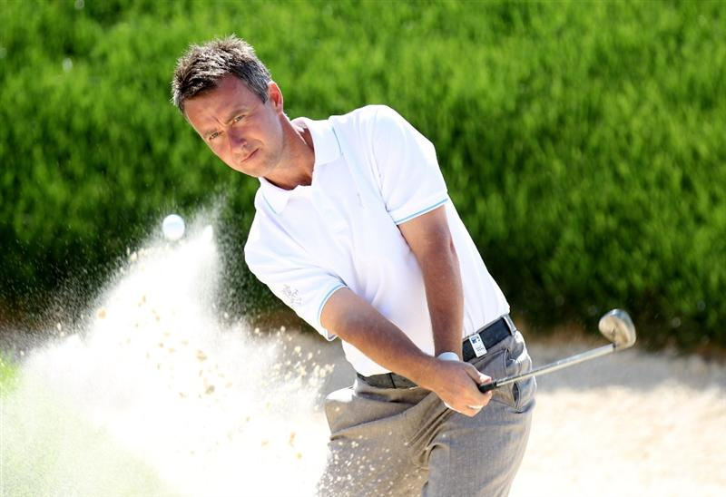 SEVILLE, SPAIN - MAY 01:  Mark Foster of England on the 18th hole during the third round of the Open de Espana at the Real Club de Golf de Seville on May 1, 2010 in Seville, Spain.  (Photo by Ross Kinnaird/Getty Images)
