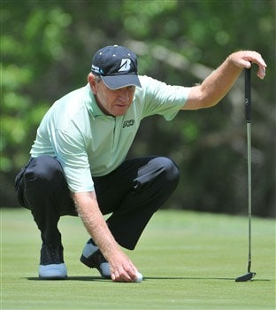 AUSTIN, TX - MAY 03: Nick Price lines up a putt for birdie on the 3rd hole during the second round of the Fed Ex Classic at The Hills Country Club on Saturday, May 3, 2008 (Photo by Marc Feldman/Getty Images)