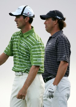 KAPALUA, HI - JANUARY 05:  Mike Weir and Stephen Ames wait to tee off on the 13th hole during the third round of the Mercedes-Benz Championship at the Plantation Course on January 5, 2008 in Kapalua, Maui, Hawaii.  (Photo by Jonathan Ferrey/Getty Images)
