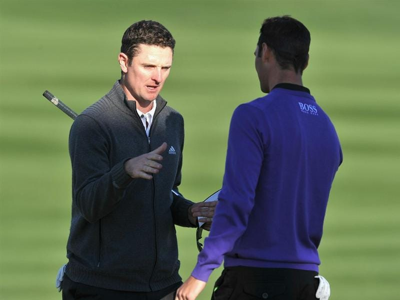 MARANA, AZ - FEBRUARY 24:  Justin Rose of England congratulates Martin Kaymer of Germany on the second playoff hole during the second round of the Accenture Match Play Championship at the Ritz-Carlton Golf Club on February 24, 2011 in Marana, Arizona.  (Photo by Stuart Franklin/Getty Images)