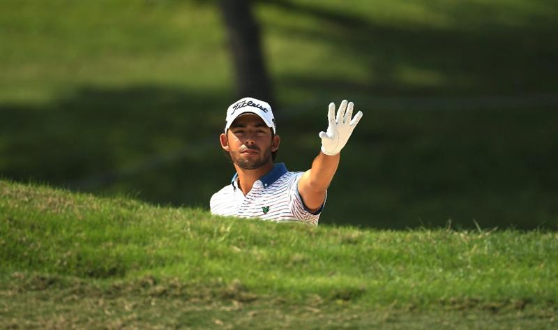 NEW DELHI, INDIA - FEBRUARY 20:  Pablo Larrazabal of Spain gestures during the fourth round of the Avantha Masters held at The DLF Golf and Country Club on February 20, 2011 in New Delhi, India.  (Photo by Ian Walton/Getty Images)