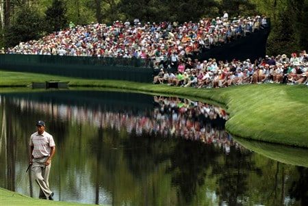 AUGUSTA, GA - APRIL 10:  Tiger Woods waits on the 16th green during the first round of the 2008 Masters Tournament at Augusta National Golf Club on April 10, 2008 in Augusta, Georgia.  (Photo by Harry How/Getty Images)