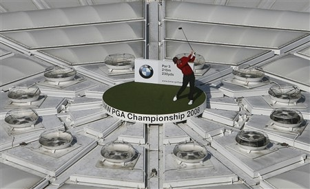 LONDON, MAY 19:  In this handout image provided by BMW Justin Rose tees off from The O2 Dome during the launch of the 2008 BMW PGA Championship on May 19, 2008 in London, England.  (Photo by Lee Mills/BMW via Getty Images)