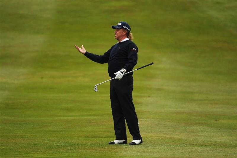 VIRGINIA WATER, ENGLAND - MAY 27:  Miguel Angel Jimenez of Spain reacts on the 5th hole during the second round of the BMW PGA Championship at the Wentworth Club on May 27, 2011 in Virginia Water, England.  (Photo by Warren Little/Getty Images)