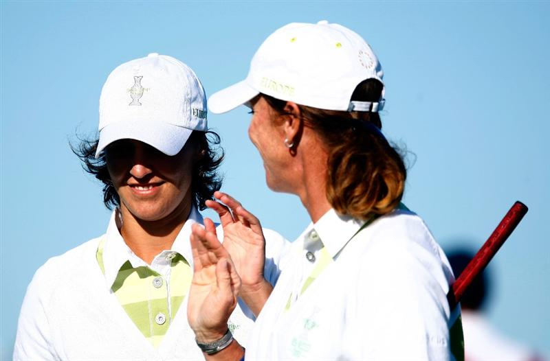 SUGAR GROVE, IL - AUGUST 22:  (R-L)  Helen Alfredsson and Tania Elosegui of the European Team walk across the second green during the saturday morning fourball matches at the 2009 Solheim Cup at Rich Harvest Farms on August 22, 2009 in Sugar Grove, Illinois.  (Photo by Scott Halleran/Getty Images)