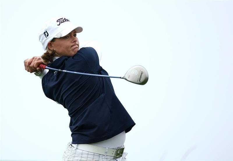 HALF MOON BAY, CA - OCTOBER 04: Katherine Hull tees off on the 11th hole during the third round of the Samsung World Championship at the Half Moon Bay Golf Links Ocean Course on October 4, 2008 in Half Moon Bay, California.  (Photo by Jonathan Ferrey/Getty Images)