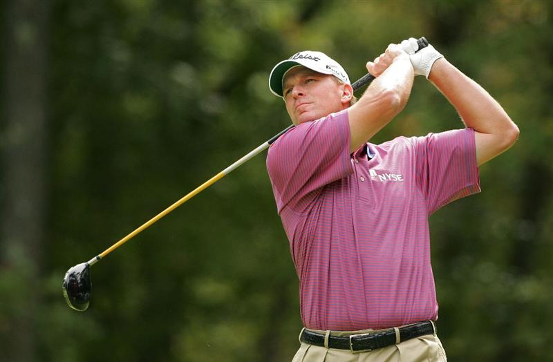 NORTON, MA - SEPTEMBER 07:  Steve Stricker hits his drive on the second hole during the final round of the Deutsche Bank Championship at TPC Boston held on September 7, 2009 in Norton, Massachusetts.  (Photo by Michael Cohen/Getty Images)