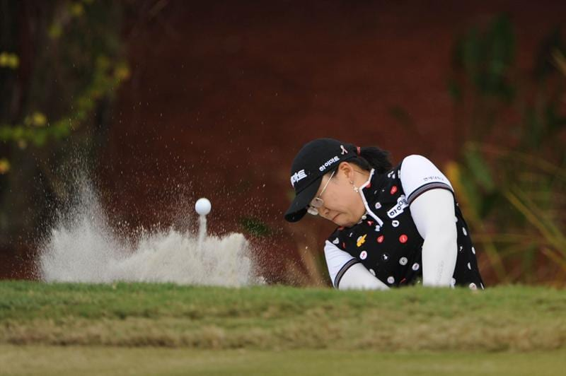 WEST PALM BECH, FL - NOVEMBER 23:  Ji-Yai Shin of South Korea hits out of the bunker on hole 16th during the final round of the ADT Championship at the Trump International Golf Club on November 23, 2008 in West Palm Beach, Florida.  (Photo by Montana Pritchard/Getty Images)