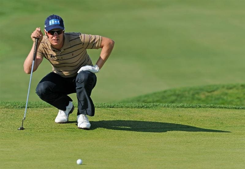 VILLAMOURA, PORTUGAL - OCTOBER 16:  Mikko Ilonen of Finland lines up his putt on the nineth hole during the third round of the Portugal Masters at the Oceanico Victoria Golf Course on October 16, 2010 in Villamoura, Portugal.  (Photo by Stuart Franklin/Getty Images)
