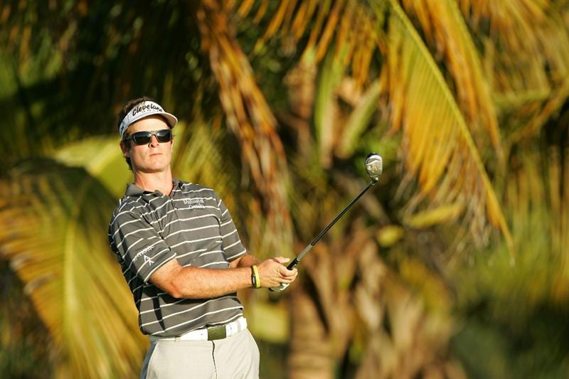 RIO GRANDE, PR - MARCH 14:  Kevin Streelman hits his shot on the third tee during the third round of the Puerto Rico Open presented by Banco Popular at Trump International Golf Club held on March 14, 2010 in Rio Grande, Puerto Rico.  (Photo by Michael Cohen/Getty Images)