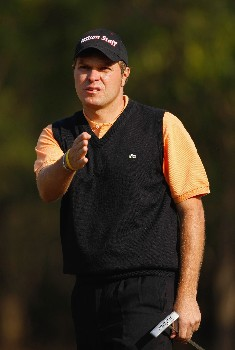 DELHI, INDIA - FEBRUARY 10:  Jose Manuel Lara of Spain reacts to his putt on the 13th hole the final round of the Emaar-MGF Indian Masters at the Delhi Golf Club, on February 10, 2008 in Delhi, India.  (Photo by David Cannon/Getty Images)