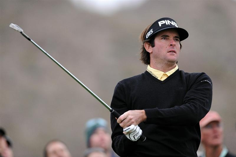 MARANA, AZ - FEBRUARY 26:  Bubba Watson hits his tee shot on the fourth hole during the quarterfinal round of the Accenture Match Play Championship at the Ritz-Carlton Golf Club on February 26, 2011 in Marana, Arizona.  (Photo by Stuart Franklin/Getty Images)