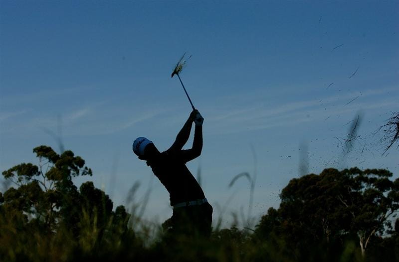 MELBOURNE, AUSTRALIA - NOVEMBER 13:  Branden Grace of South Africa plays an approach shot on the 2nd hole during round two of the 2009 Australian Masters at Kingston Heath Golf Club on November 13, 2009 in Melbourne, Australia.  (Photo by Quinn Rooney/Getty Images)
