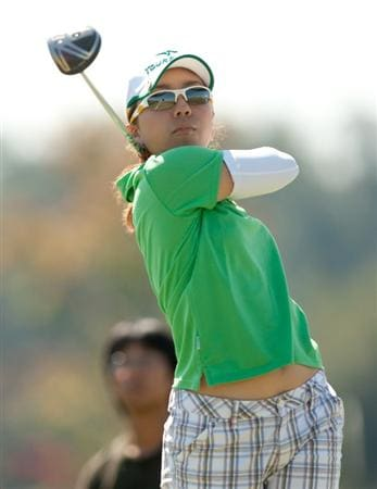 PRATTVILLE, AL - OCTOBER 9: Mika Miyazato of Japan follows through on a tee shot during the third round of the Navistar LPGA Classic at the Senator Course at the Robert Trent Jones Golf Trail on October 9, 2010 in Prattville, Alabama. (Photo by Darren Carroll/Getty Images)