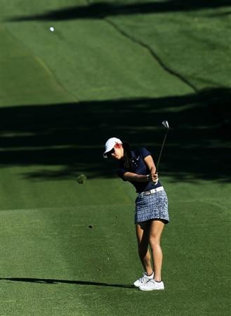 RANCHO MIRAGE, CA - APRIL 01:  Michelle Wie hits her third shot on the second hole during the second round of the Kraft Nabisco Championship at Mission Hills Country Club on April 1, 2011 in Rancho Mirage, California.  (Photo by Stephen Dunn/Getty Images)