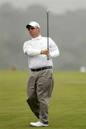 PEBBLE BEACH, CA - JUNE 15:  David Duval watches a shot during a practice round prior to the start of the 110th U.S. Open at Pebble Beach Golf Links on June 15, 2010 in Pebble Beach, California.  (Photo by Andrew Redington/Getty Images)