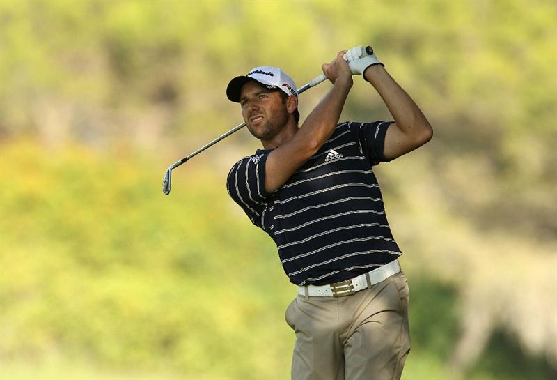 SOTOGRANDE, SPAIN - OCTOBER 28:  Sergio Garcia of Spain plays into the 16th green during the first round of the Andalucia Valderrama Masters at Club de Golf Valderrama on October 28, 2010 in Sotogrande, Spain.  (Photo by Richard Heathcote/Getty Images)