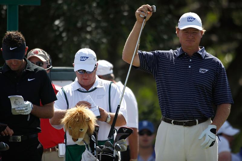 DORAL, FL - MARCH 14:  Ernie Els of South Africa  pulls a club out of his bag on the third tee box during the final round of the 2010 WGC-CA Championship at the TPC Blue Monster at Doral on March 14, 2010 in Doral, Florida.  (Photo by Marc Serota/Getty Images)