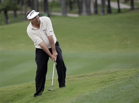 BIRMINGHAM, AL - MAY 18:  Brad Bryant watches his chip to the 13th hole during the final round of the Regions Charity Classic at the Ross Bridge Golf Resort on May 18, 2008 in Birmingham, Alabama. (Photo by Dave Martin/Getty Images)