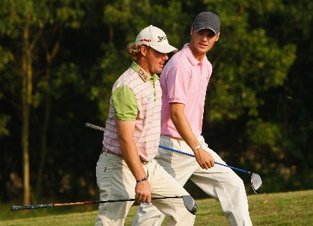 SHENZHEN, CHINA - NOVEMBER 22:  Alex Cejka and Martin Kaymer of Germany on the 16th hole during the first round of the Omega Mission Hills World Cup at the Mission Hills Golf Resort on November 21, 2007 in Shenzhen, China.  (Photo by Stuart Franklin/Getty Images)