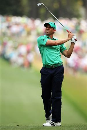AUGUSTA, GA - APRIL 09:  Sergio Garcia of Spain  watches his approach shot on the first hole during the third round of the 2011 Masters Tournament at Augusta National Golf Club on April 9, 2011 in Augusta, Georgia.  (Photo by Andrew Redington/Getty Images)