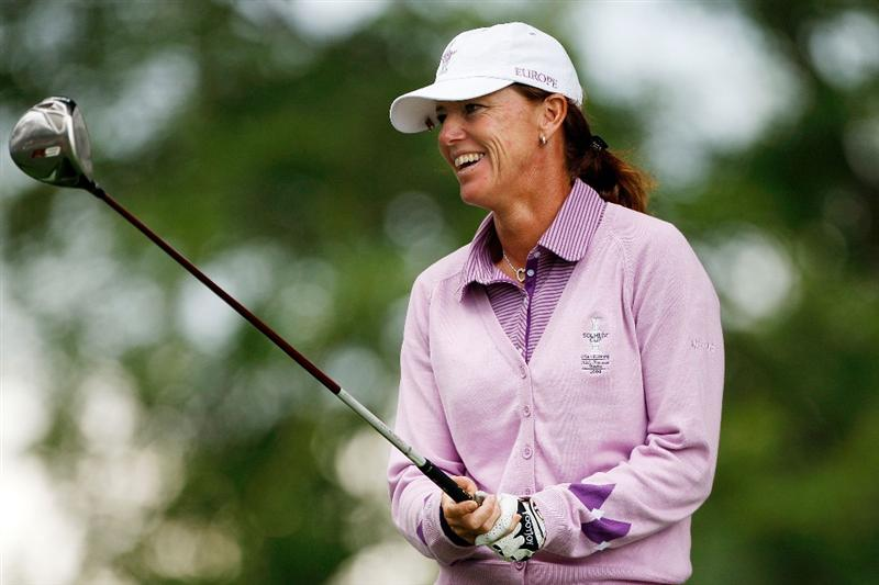 SUGAR GROVE, IL - AUGUST 20:  Helen Alfredsson of the European Team smiles as she waits to tee off during a practice round prior to the start of the 2009 Solheim Cup at Rich Harvest Farms on August 20, 2009 in Sugar Grove, Illinois.  (Photo by Chris Graythen/Getty Images)