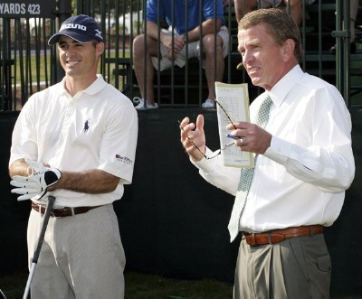 Jonathan Byrd and PGA Commissioner Tim Finchem during the second round of THE PLAYERS Championship held on THE PLAYERS Stadium Course at TPC Sawgrass in Ponte Vedra Beach, Florida, on May 11, 2007. Photo by Chris Condon/PGA TOUR/WireImage.com
