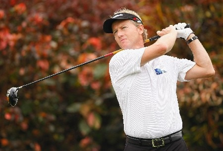 JAKARTA, INDONESIA - FEBRUARY 15:  Philip Golding of England plays his tee shot on the nineth hole during the second round of the 2008 Enjoy Jakarta Astro Indonesian Open at the Cengkareng Golf Club on February 15, 2008 in Jakarta, Indonesia.  (Photo by Stuart Franklin/Getty Images)