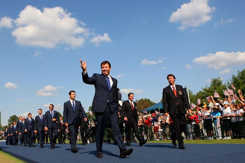 LOUISVILLE, KY - SEPTEMBER 18:  Nick Faldo, captain of the European team and Paul Azinger, captain of the USA team walk out with their teams during the opening ceremony during the 2008 Ryder Cup at Valhalla Golf Club on September 18, 2008 in Louisville, Kentucky.  (Photo by Andrew Redington/Getty Images)