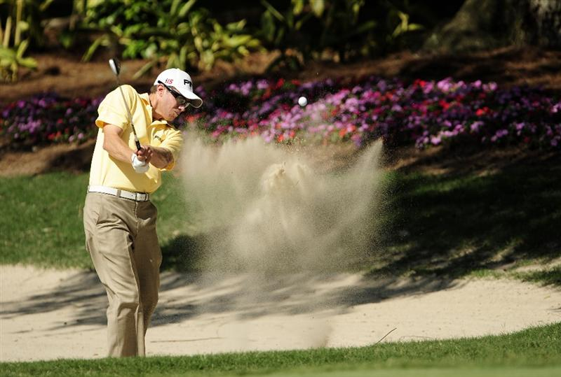 PONTE VEDRA BEACH, FL - MAY 07:  Nick O'Hern of Australia plays from a bunker on the 14th hole during the second round of THE PLAYERS Championship held at THE PLAYERS Stadium course at TPC Sawgrass on May 7, 2010 in Ponte Vedra Beach, Florida.  (Photo by Sam Greenwood/Getty Images)
