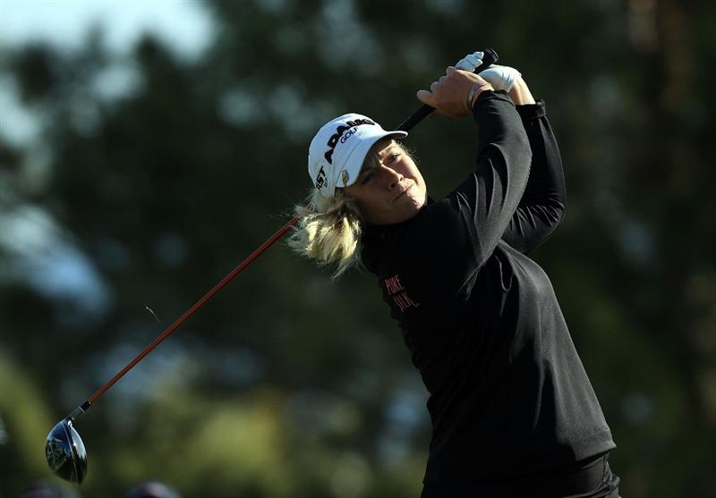 RANCHO MIRAGE, CA - APRIL 02:  Brittany Lincicome of the USA plays her tee shot at the 11th hole during the second round of the 2010 Kraft Nabisco Championship, on the Dinah Shore Course at The Mission Hills Country Club, on April 2, 2010 in Rancho Mirage, California.  (Photo by David Cannon/Getty Images)