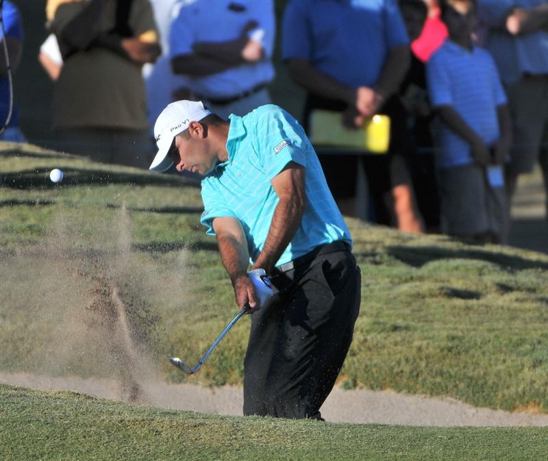 LAS VEGAS- OCTOBER 19: Marc Turnesa  hits out of the greenside bunker on the 18th hole during the fourth and final round of  the Justin Timberlake Shriners Hospitals for Children Open held at the TPC Summerlin on Sunday, October 19, 2008 in Las Vegas, Nevada.  (Photo by Marc Feldman/Getty Images)