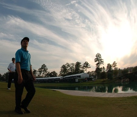 Des Smyth walks off the 18th green after his round of play in the first round of the 2005 Administaff Small Business Classic at Augusta Pines Country Club in Spring, Texas October 14, 2005.Photo by Steve Grayson/WireImage.com