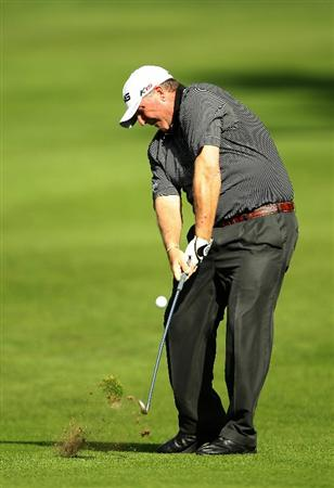SAN FRANCISCO - NOVEMBER 04:  Mark Calcavecchia hits his second shot on the 5th hold during round 1 of the Charles Schwab Cup Championship at Harding Park Golf Course on November 4, 2010 in San Francisco, California.  (Photo by Ezra Shaw/Getty Images)