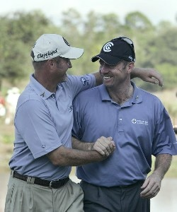 Rod Pampling and Jerry Kelly celebrate winning on the 18th hole after the third and final round of the Merrill Lynch Shootout at the Tiburon Golf Club in Naples, Florida on November 12, 2006. PGA TOUR - 2006 Merrill Lynch Shootout - Final RoundPhoto by Michael Cohen/WireImage.com