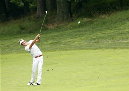 BETHESDA, MD - JULY 6: Fredrik Jacobson hits his second shot on the 11th hole during the final round of the AT&T National at Congressional Country Club on July 6, 2008 in Bethesda, Maryland. (Photo by Hunter Martin/Getty Images)