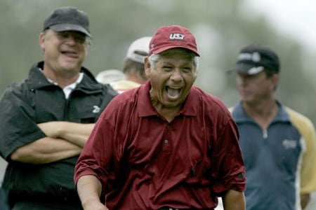 Lee Trevino (in red) shares a joke with David Eger during the first round of the Greater Hickory Classic at Rock Barn on the Jones Course  in Conover, North Carolina on October 7, 2005.Photo by Michael Cohen/WireImage.com