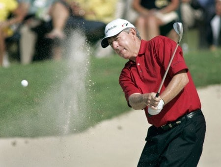 Hale Irwin hits out of a bunker on the first hole during the final round of the 2005 SAS Championship Sunday, October 2, 2005, at Prestonwood Country Club in Cary, North Carolina.Photo by Grant Halverson/WireImage.com